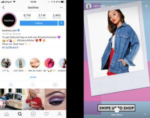 Instagram Stories Highlights on Boohoo
